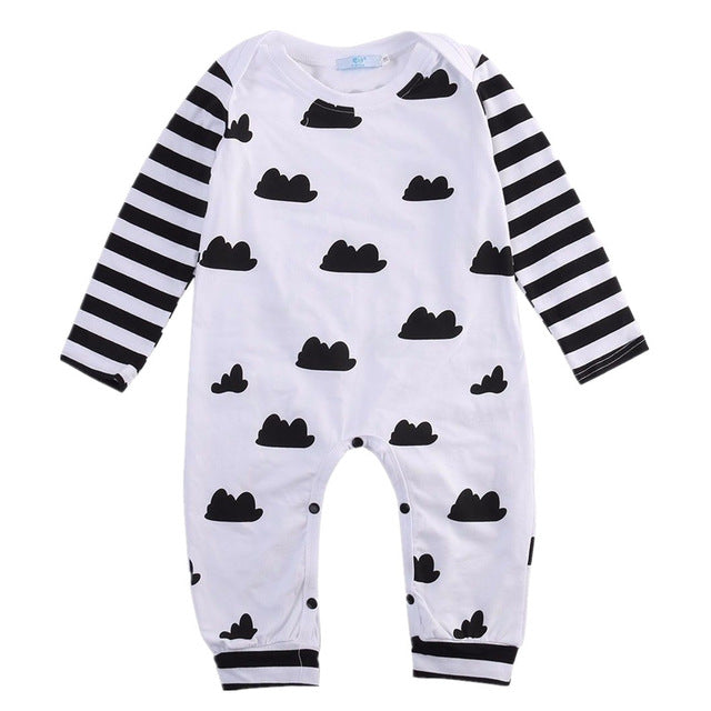 Cute Baby Girl Baby Boy Unisex Casual Clothes Striped Long Sleeve Bodysuit Jumpsuit Outfits-eosegal