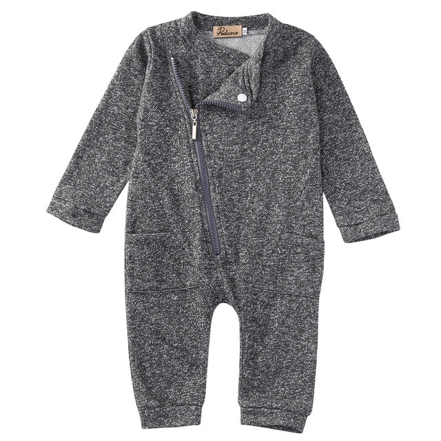 2PCS Newborn Toddler Infant Baby Boy Girl Warm Long Sleeve One Piece Zipper Casual Outfit Clothes Set-eosegal