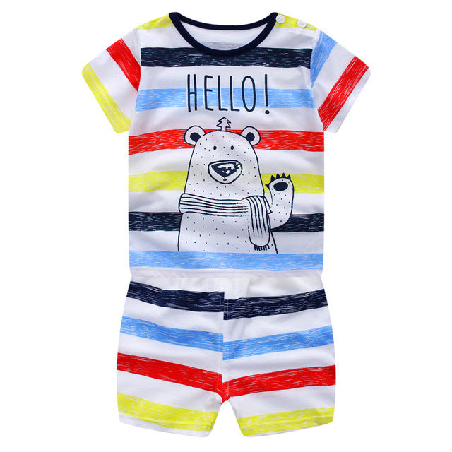 2017 Newborn Baby Boys Girls Clothes Cute Cotton Baby Clothing Set Short + Pant 2pcs Summer Spring Suit Little Girl Clothing Set-eosegal