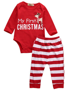 2016 2pcs My First Christmas Newborn Baby Girls Boys Long Sleeve Romper + Striped Pants Cartoon Baby Sets Cotton Clothing 0-18M-eosegal