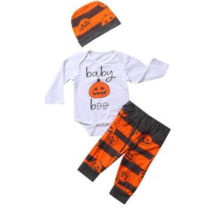 Halloween Pumpkin Baby Boys Girl Top Long Sleeve Romper +Pants+ Hat 3Pcs Bodysuit Outfits Set Clothes-eosegal