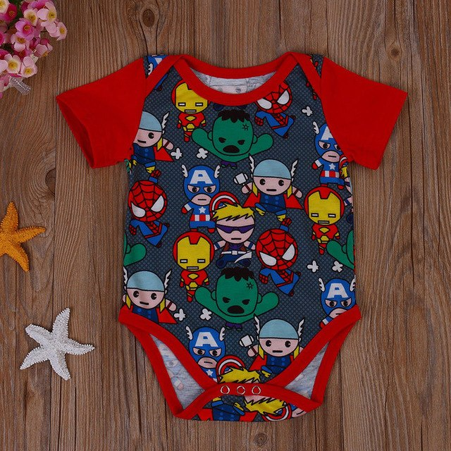 2017 Newborn Baby Boys Clothes round neck short sleeve Adorable casual Bodysuits cotton Summer Geometry Jumpsuit one pieces-eosegal