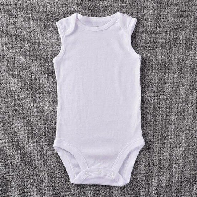 Baby Clothes Plain White Cotton Sleeveless Baby Romper Summer Clothing For Newborns Infantil Overall-eosegal