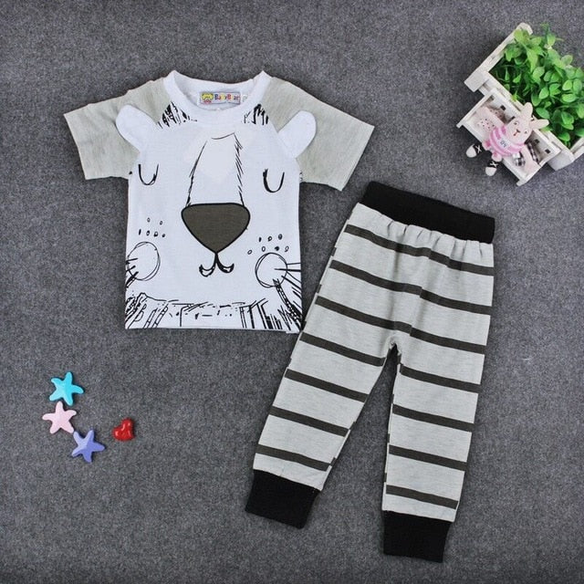 Retail 2016 spring infant clothes baby clothing sets boy Cotton little monsters and the lions short sleeve 2pcs baby boy clothes-eosegal