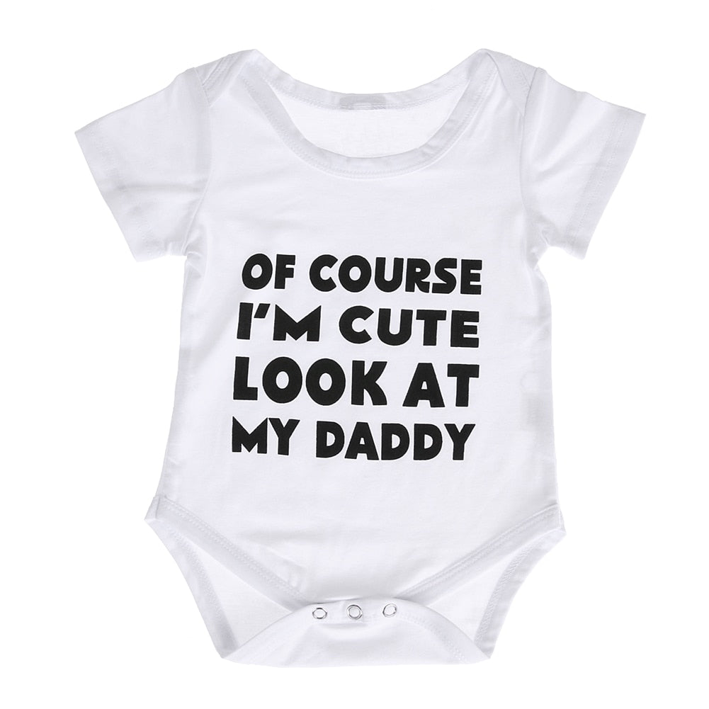 White Baby Bodysuit Newborn Baby Boy Girl Casual Jumpsuit Letter Print Outfits Infant Kids Sunsuit Clothes Summer for 0-18M-eosegal