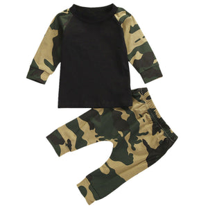 Camouflage Newborn Toddler Infant Baby Boys Clothes Kids Long Sleeve T shirt Top Pants Casula Outfit Clothes Set-eosegal