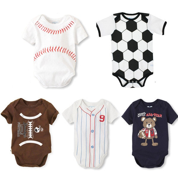 Summer Cotton Baby Rompers Infant Toddler Jumpsuit Football Newborn Baby Girl Boy Clothing Overall Clothes-eosegal