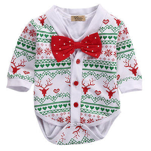 SpringXmas Autumn Newborn Baby Girl Boy Reindeer Snowflake Coat Romper Christmas 2pcs Outfits Set-eosegal