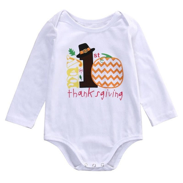 0-12M Newborn Infant Baby Girl Bodysuit Clothes Thanksgiving Letter Printed Cotton Jumpsuit Outfits Sunsuit Clothes-eosegal
