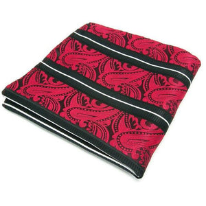 S8 Paisley Stripes Black Red White Mens Necktie Set 100% Silk eosegal-eosegal