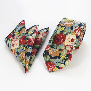 Fashion Cotton Ties 6cm Skinny Blue Vintage Floral Neck Tie Andeosegal-eosegal