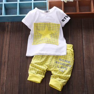 Popular baby girls Summer clothes set Children cotton clothing suit t shirt+pants cartoon animal, star, griffin patterns-eosegal