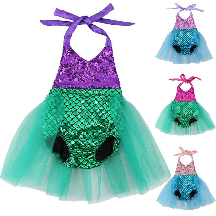 2017 Baby Girls Sequins Tutu Summer Mermaid Baby Rompers One-Pieces Multi Color Toddler Baby Clothing Girl Rompers-eosegal
