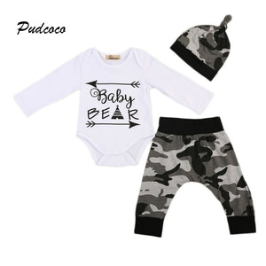 Pudcoco Brand Baby Bear 3PCS Clothing Set Infant Kids Long Sleeve Romper Tops+Camo Pant Hat Outfit Newborn Clothes 0-24M-eosegal