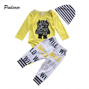 Pudcoco Bran Newborn Clothes Infant Kids Boy Girl Long Sleeve Cotton Romper Tops Long Pant Hat Outfit Toddler Kids Clothing Set-eosegal