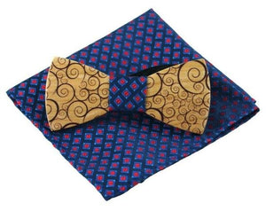 Fashion Novelty Paisley Wooden Bow Tie And Handkerchief Set Men's Plaideosegal-eosegal