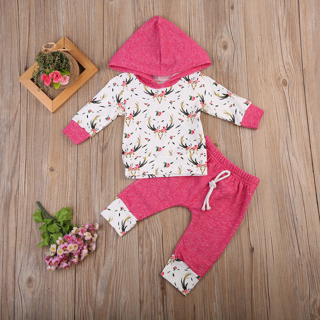 Xmas Autumn Winter Baby Clothing 2pcs Newborn Infant boys Girls Long Sleeve Hooded Tops + striped pants Baby Clothes Set-eosegal