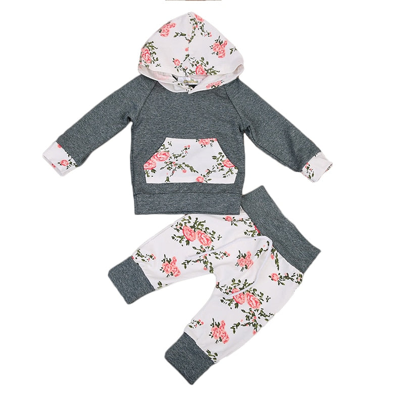 Floral Newborn Baby Clothes Infant Bebes Long Sleeve Hooded T-shirt Tops Pant Trouser 2PCS Outfit Toddler Kids Clothing Set-eosegal
