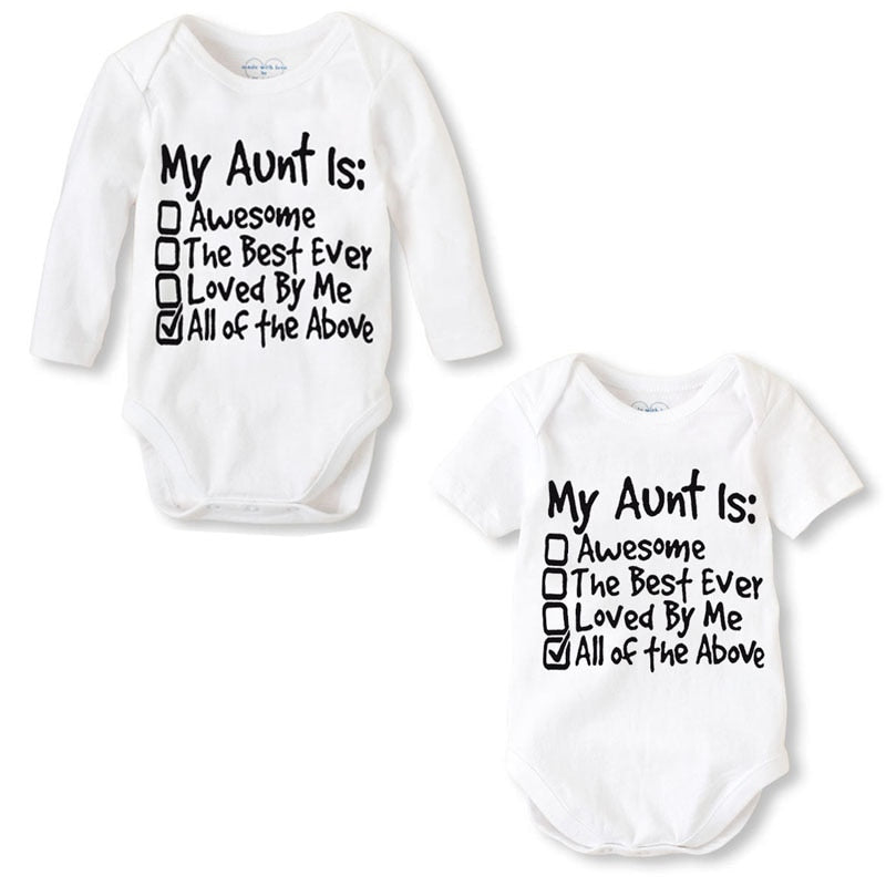 Fashion Newborn Baby Clothes Baby Romper pajama Long Sleeve Print My Aunt Baby Girl boy Clothes Roupas de bebe Infant jumpsuit-eosegal
