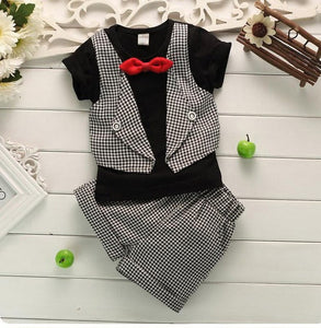 Baby Boys Clothes Fashion Fake Two Pieces Lattice Gentleman Serving Baby Clothing Summer Short-Sleeved Suit Pants 2pc/ Sets-eosegal