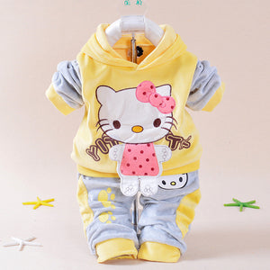 2016 spring new baby kids children Hello Kitty clothing set boys girls Velvet clothes set cartoon T Shirt Hoodies Pant suit-eosegal