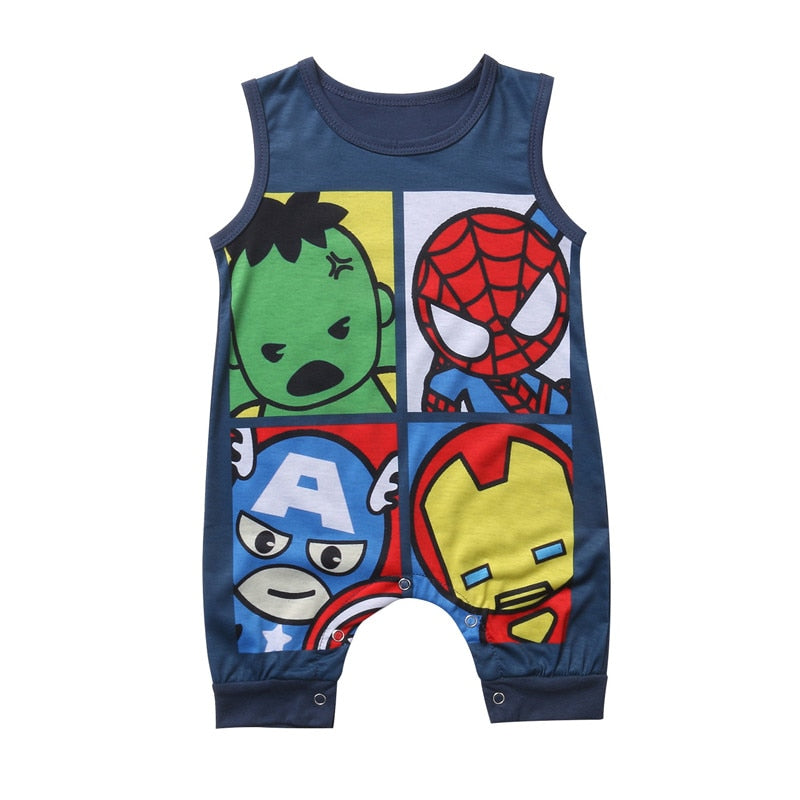 Sleeveless Baby Boy Grils Summer Romper Casual Cotton Jumpsuit Cartoon Super Hero Printed Clothing For Newborn Infant Baby-eosegal