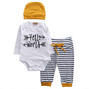 3pcs set Newborn Infant Baby Clothes Casual Long Sleeve Hello World Romper Striped Pant Hat Outfits Clothing 0-18M-eosegal