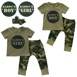 2017 New Camouflage Baby Clothes Daddy's Boy Girl Short Sleeve T-shirt Tops+Pant Outfit Toddler Kids Clothing Set 0-24M-eosegal