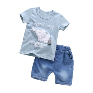 BibiCola Baby Boy Clothing Sets 2017 New Arrival Summer T-shirt+Solid Pants Kids Bebe Outfits Toddler Kids Cotton Clothes Suit-eosegal
