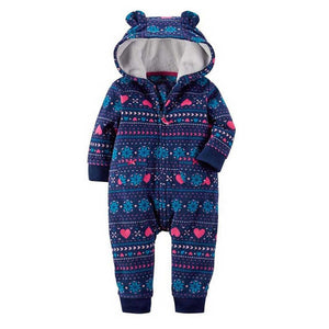 Autumn & Winter Newborn Infant Baby Clothes Fleece Jumpsuit Boys Romper Hooded Jumpsuit Bear Onesie Baby Bebe Menino Macacao-eosegal
