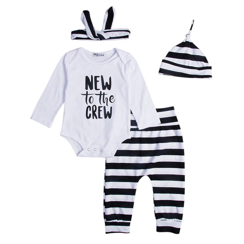 4PCS Set Newborn Infant Baby Clothes New to the Crew Long Sleeve Bodysuit Tops+Striped Pant Legging Hat Headband Outfit Clothing-eosegal