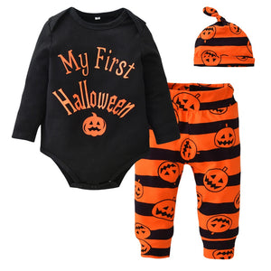 Cute Newborn Baby Boys Girls Clothes Black Letter Bodysuit+Pumpkin Pants+Hat Infant 3pcs Suit Baby Clothing My First Halloween-eosegal