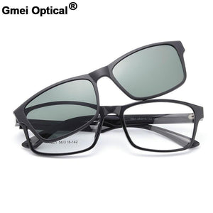 1601 Urltra-Light TR90 Eyeglasses Frame with Polarized Clip-on Sunshades for Womeneosegal-eosegal