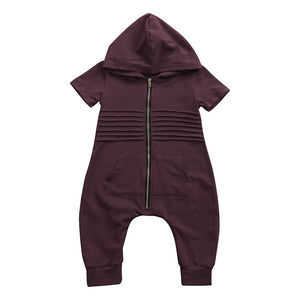 New Fashion Toddler Kids Boy Romper Short Sleeve Hooded Zipper Jumpsuit Playsuit One Pieces Children Clothes 0-24M-eosegal