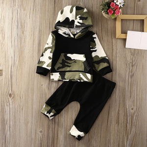 Girls Boys Infant Toddler Hooded Tops Warm Long Pants Outfits Set Clothing Bay Boy Girl Army Green Tops Newborn Baby Clothes Set-eosegal