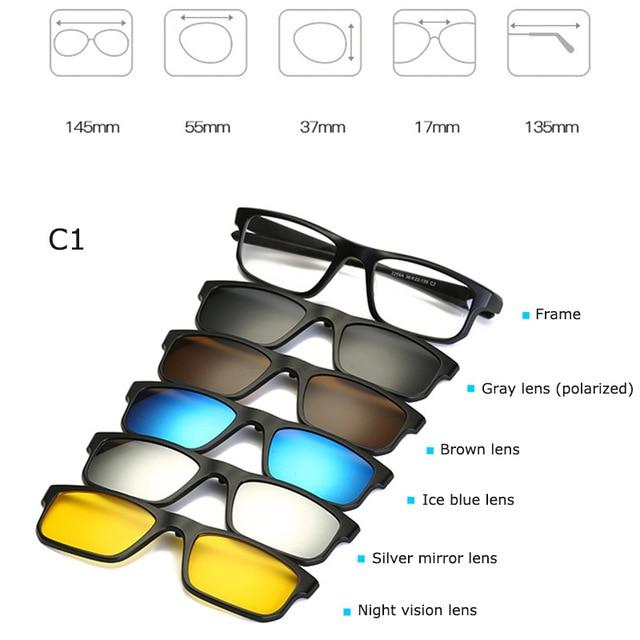 Fashion Spectacle Frame Eyeglasses Men Women With 5 clip on Polarized Sunglasseseosegal-eosegal