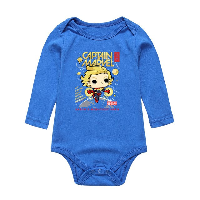 Baby Bodysuits Boy Girl Clothes Newborn Cartoon CAPTAIN MARVEL Printing Girls Boys Jumpsuits Long Sleeve Infant One-Pieces-eosegal