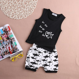 Infant Kids Summer baby girls Boys clothes Set Sleeveless Vest letter t-shirt Shorts 2pcs suit baby boy clothing sets Kid Girl-eosegal
