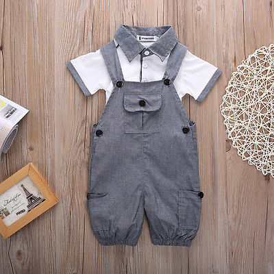 2PCS Newborn Baby Boys Shirt +suspender Pants Gentleman Cotton baby clothing Sets Summer Toddler Infant Boy Outifits Set-eosegal