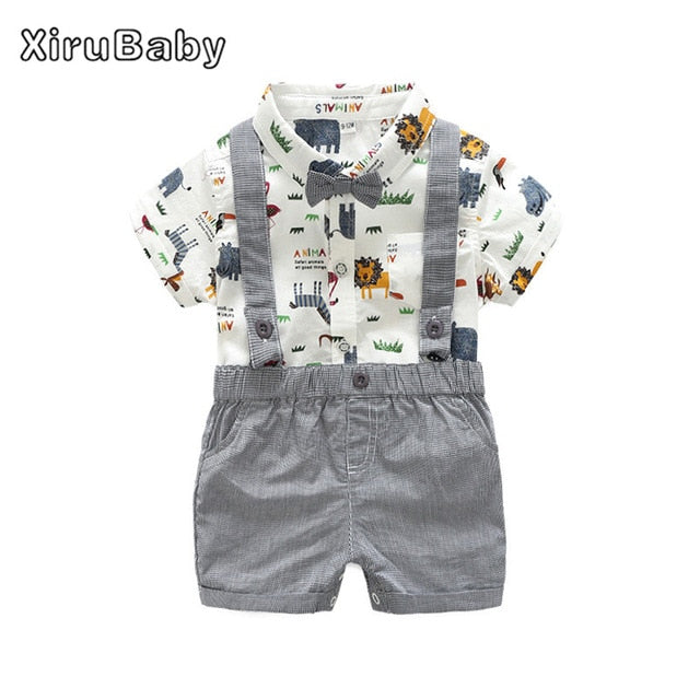 86874c9ea58 Xirubaby Newborn Baby Boy Clothes 2017 Summer Infant Boy Clothing Set Short  Sleeves Graffiti Shirt Rompers