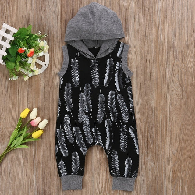 Autumn Newborn Kids Baby Boys Feather Long Sleeve Hooded Romper Jumpsuit Outfit Clothes-eosegal