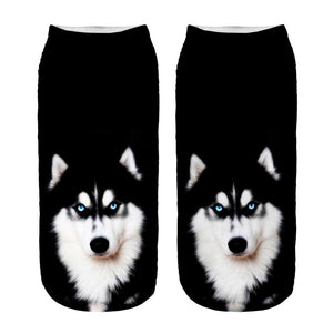 Socks 1pair New 3D Husky Printed sock New Unisex Low Ankle Sock Soft 19cm sock Casual Charactor Wholesale-eosegal