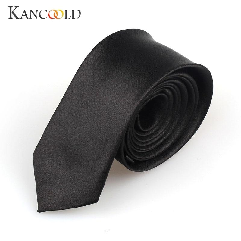 Solid Narrow Black Tie For Men Casual Arrow Slim Plain Necktie Fashioneosegal-eosegal