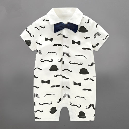 Summer Baby Boy Rompers Newborn Gentleman Clothing Set Cotton Bow Tie Prince Leisure Costumes Infant Jumpsuit Brand Boys Clothes-eosegal