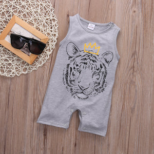 Newborn Toddler Infant Baby Boy Girl Unisex Clothes Tiger Printed Romper Jumpsuit Playsuit Outfits 0-24M-eosegal