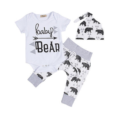 Cute Newborn Baby Clothes 3pcs Summer Infant Girls Boy Baby Bodysuit Tops Casual Bear Long Pants Leggings Hat Baby Outfits Set-eosegal