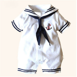 baby sailor costume anchor romper navy costumes for infants 2017 new white cotton Short sleeve jumpsuit Halloween costume baby-eosegal