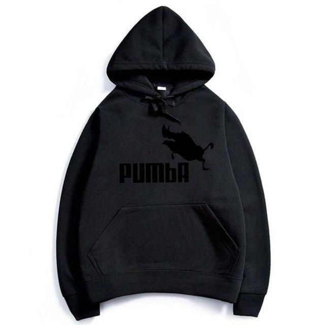 2017 Top men's clothing Pumba Black Hooded Sweatshirt with Hoodies Men Brandeosegal-eosegal