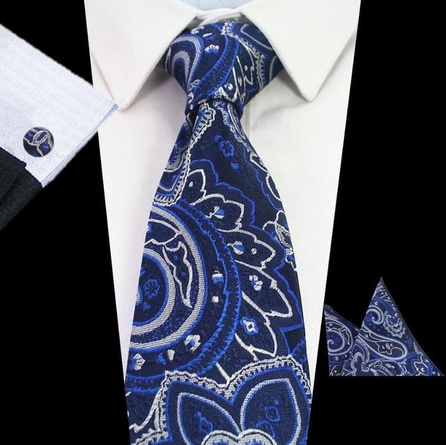 New Fashion Tie Blue Paisley & Floral Necktie Men's 8cm Tieeosegal-eosegal