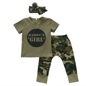 Newborn Toddler Baby Boy Girl Camo T-shirt Tops Pants Outfits Set Clothes 0-24M Cotton Casual Short Sleeve Kids Sets-eosegal